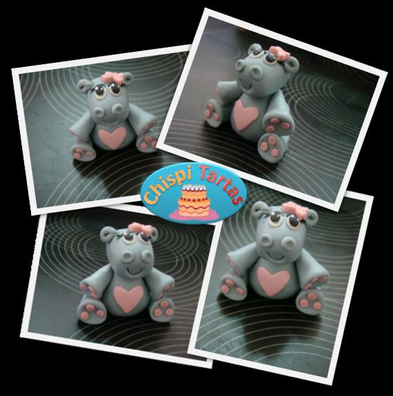 Hipopótamo modelado en fondant