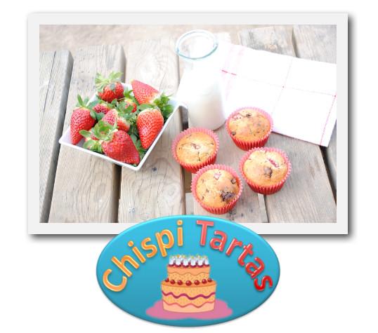 muffins de fresas con chocolate